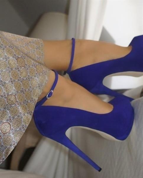 Туфли голубые замшевые