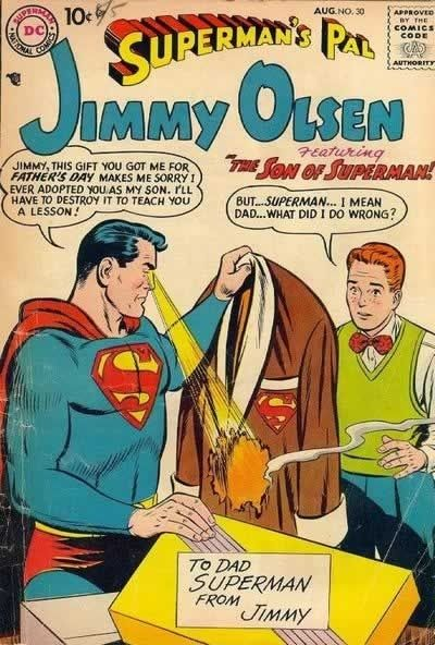 Even Superman Can Be  A Jerk Sometimes  http://www.happyplace.com/14916/comics-showing-superman-asshole-wtf-funny/page/1  (Hat tip BoingBoing)Vintage Comics, Comics Book, Dc Comics, Superman Comics, Jimmy Olsen, Book Covers, Super Dads, Man Of Steel, Happy Fathers Day