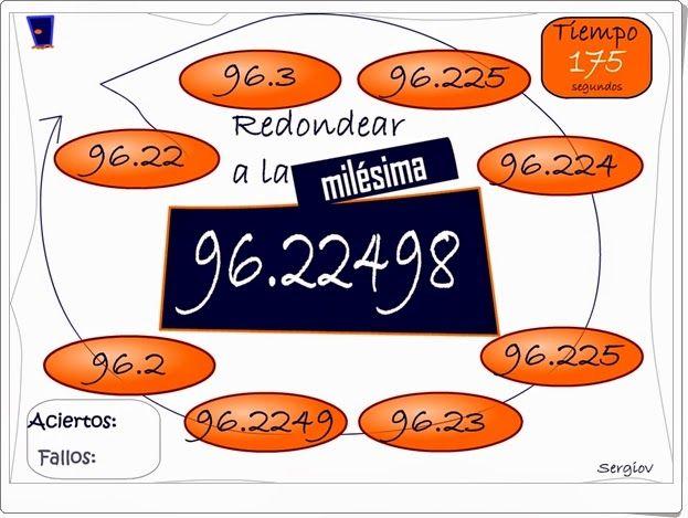 """""""Redondea decimales en tres minutos"""" es un juego, de Sergio Alberto Darias, en el que se trata de redondear la mayor cantidad de números decimales posible en tres minutos. Se redondea a la décima, a la centésima, a la milésima y a la diezmilésima."""