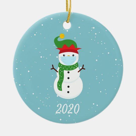 Snowman christmas ornament with mask