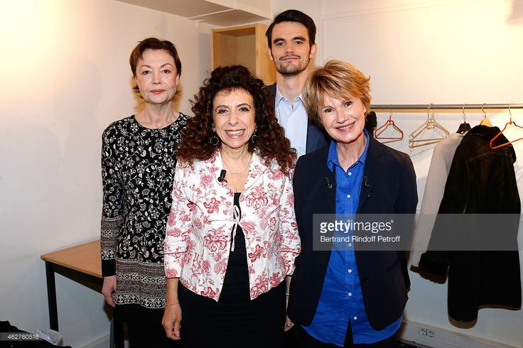 Brigitte Catillon, Isabelle De Botton, Julien Personnaz and Main guest of the show Miou Miou present the Theater play 'Des gens bien', performed at Theatre Hebertot during the 'Vivement Dimanche' French TV Show at Pavillon Gabriel on February 4, 2015 in Paris, France.