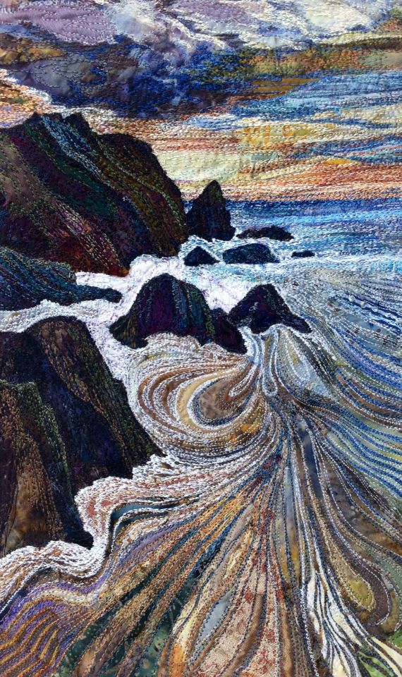 Machine embroidered textile by Rachel Wright with mixed fabrics and Madeira Rayons on calico. #seascape #coast #beach #embroidery