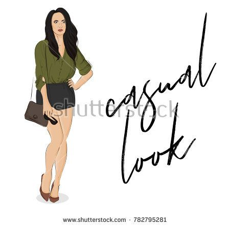 Vector street style poster. Fashion illustration young woman with long hair, wearing bluse, shorts, bag, sunglases. Business outfit. Sketch casual  street style. Fashion collection . Magazine poster