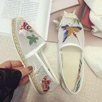 LALA IKAI Espadrille женщины Сетки квартиры обувь с цветок птица вышивка Бездельники летние Дышащие причинные туфли XWA0581