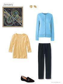 aqua blue cardigan, yellow tee shirt and black pants, united by an Hermes scarf