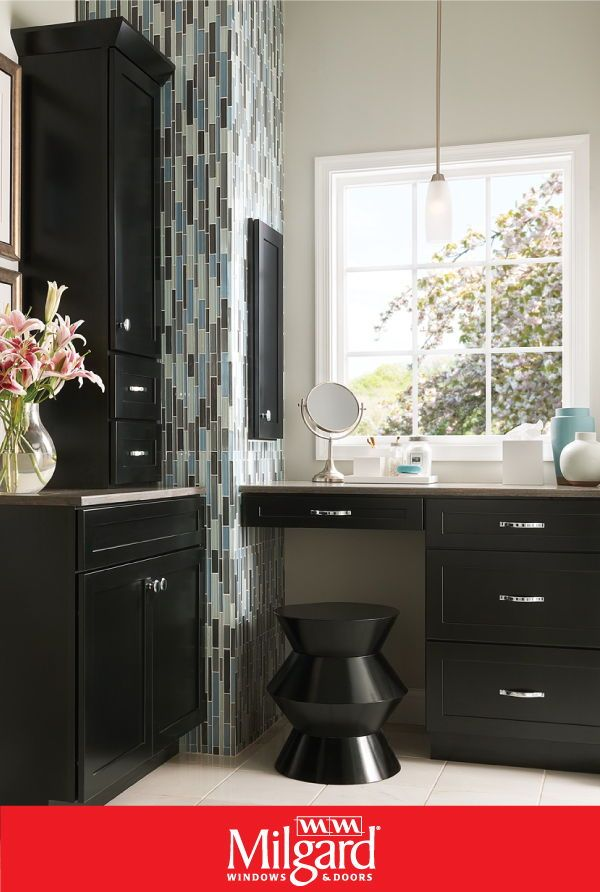 This Bathroom Vanity Area Has Several Different Elements That Create A Cohesive Look The White Framed Window Bathroom Style Kraftmaid Custom Kitchens Design