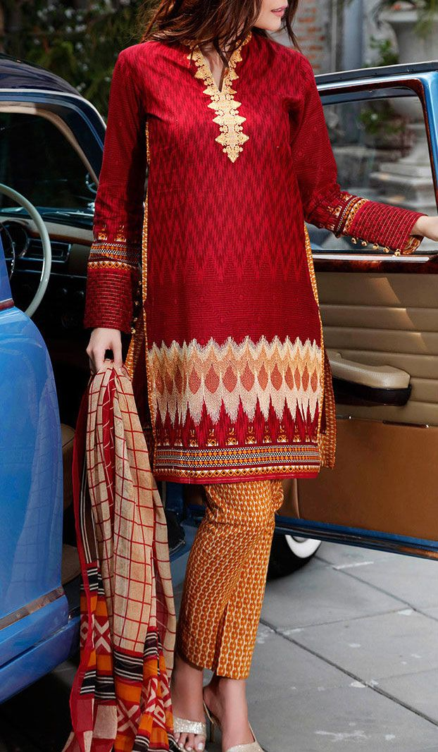Buy Maroon Embroidered Cotton Lawn Dress by GulAhmed 2016 Contact: 702-7513523 Email: info@pakrobe.com Skype: PakRobe