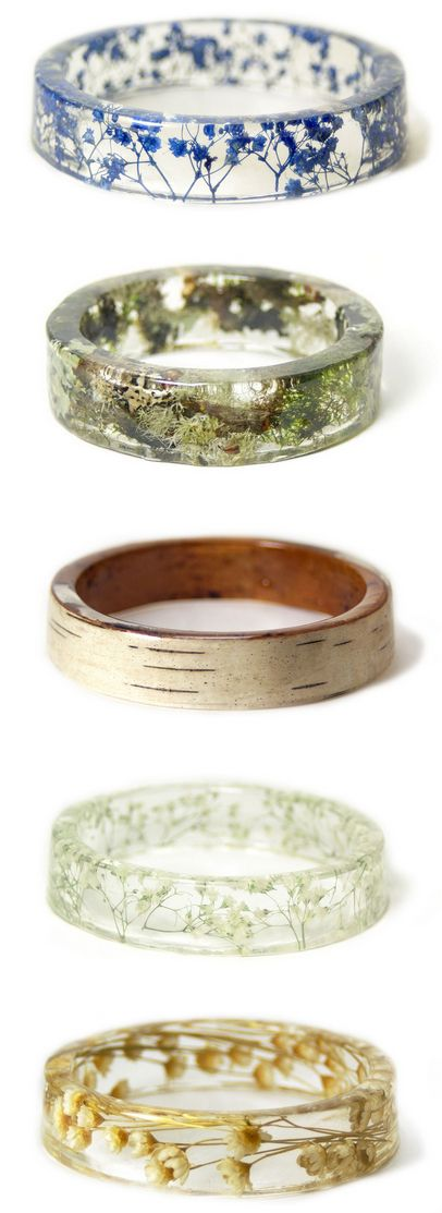 Handmade Resin Bangles Embedded with Flowers and Bark