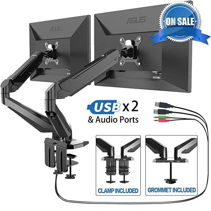 Dual Arm Monitor Stand Fezibo Adjustable Full Motion Monitor