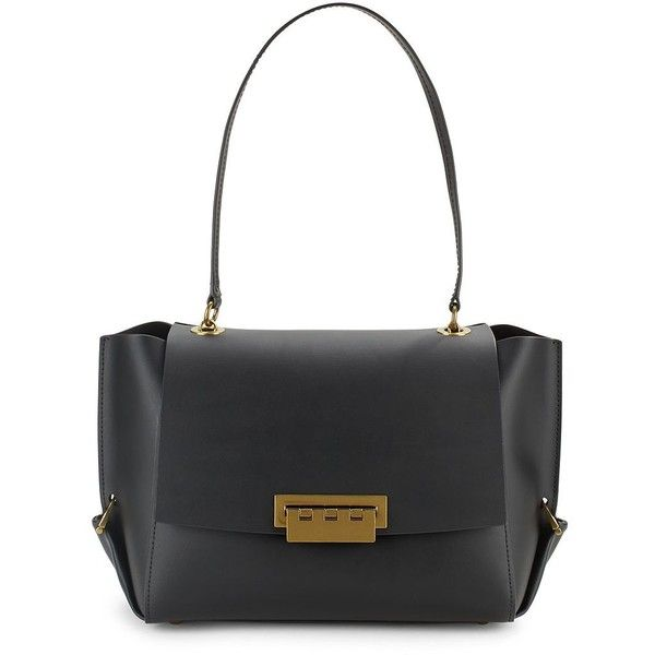 ZAC Zac Posen Eartha Folded Gusset Shoulder Bag ($160) ❤ liked on Polyvore featuring bags, handbags, shoulder bags, black, leather purses, shoulder hand bags, purse shoulder bag, genuine leather shoulder bag and man shoulder bag