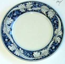 "RENAISSANCE BLUE - CHARGER PLATE: 12.5"" (32cm) Diameter.    Renaissance Blue Colors: Blue on White.    The acanthus leaf is a recurring motif in the tradiitional Renaissance design created for the Medicii family of Florence.    Choice of different color combinations makes this motif astonishingly versatile. The acanthus leaf is often combined w/ the peacock which symbolizes pride, majesty & immortality.    #Art #Vail #Gubbio #Umbria #Deruta #Italy #Dinnerware #Tuscany #Majolica #Renaissance"