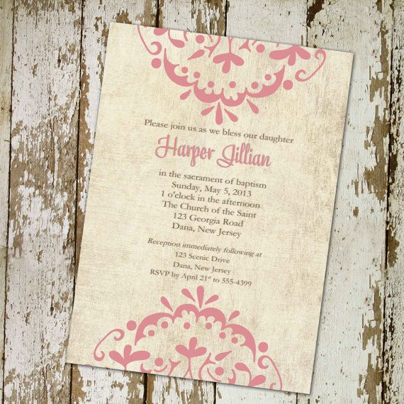 girl baptism invitation, graduation or baby blessing, digital, printable file (item 406b) on Etsy, $13.00
