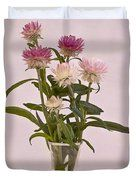 Straw Flowers - Digital Water Color Duvet Cover by Sandra Foster