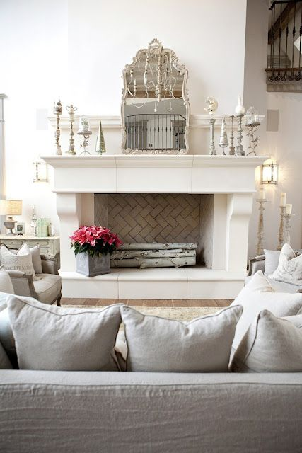 fireplace: Mirror, Fireplaces Mantles, Living Rooms, Mantles Decoration, Color, Interiors Design, Faux Fireplaces, White Fireplaces, Herringbone Fireplaces