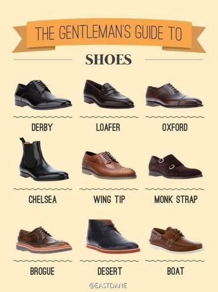 Как называются различные виды обуви под костюм