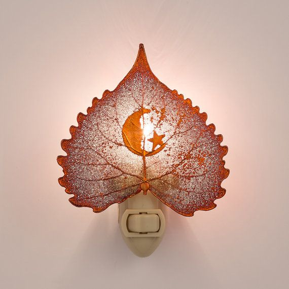 Real Cottonwood Leaf Dipped In Iridescent Copper With Moon Silhouette Night Light  - Iridescent Copper Leaves