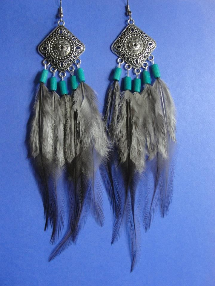Long Natural Feather Earrings Southwestern Light & Dark Silver Turquoise Beads