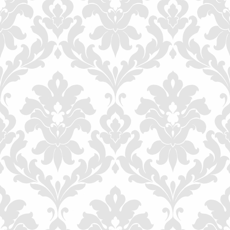 Gray Traditional Damask Wallpaper