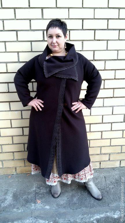 Купить Пальто трикотажное теплое - одежда для полных женщин, одежда для полных, красивая одежда