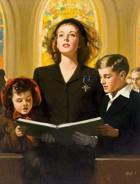 "This beautiful illustration by Andrew Loomis, sometimes called ""In Memory,"" depicts a valiant widow and her children in church. She is wearing her dead husband's posthumous Distinguished Service Cross, the second highest award presented by the American armed forces for valor."