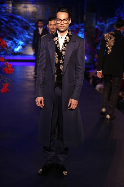 velvet waistcoat, layered, long overcoat, jacket, navy blue, rouched, trousers, brother of the groom, manish malhotra , amazon india couture week , 2015, the empress story collection