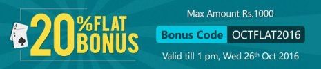 Get 20% up to Rs.1000 Bonus at Ace2Three Rummy. Claim now!