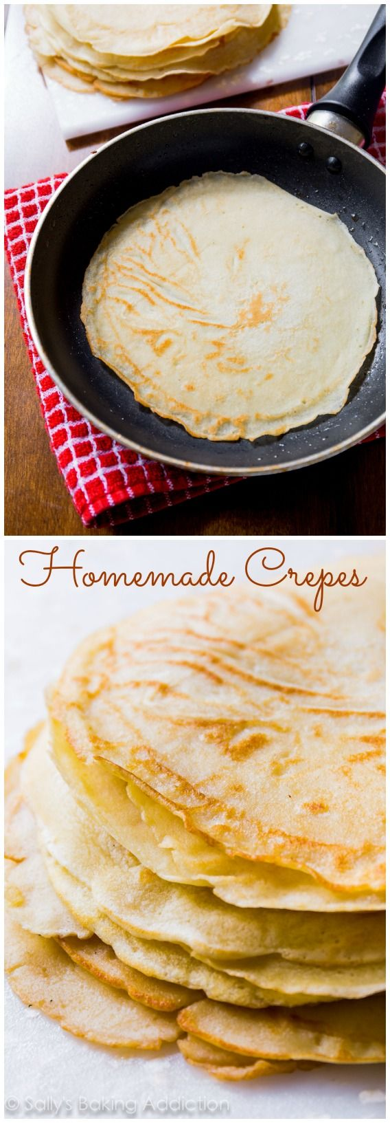 How to make (easy, delicious, out-of-this-world) Homemade Crepes. Recipe at sallysbakingaddiction.com