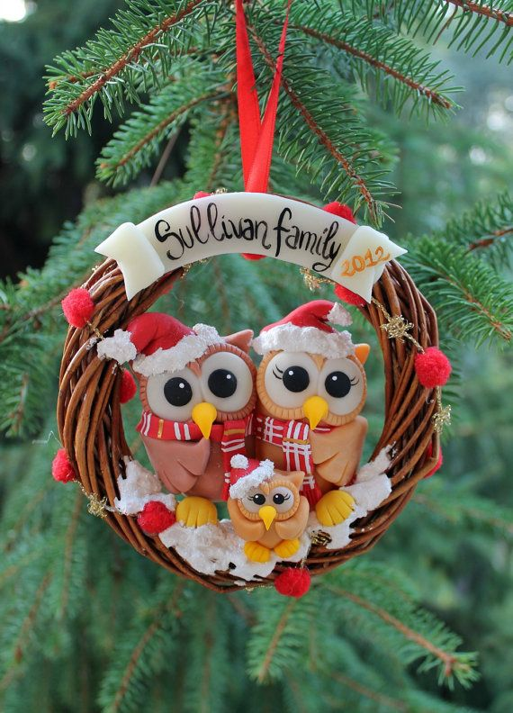 Christmas family tree ornament, first owl family decoration with baby bird, wreath personalized Christmas