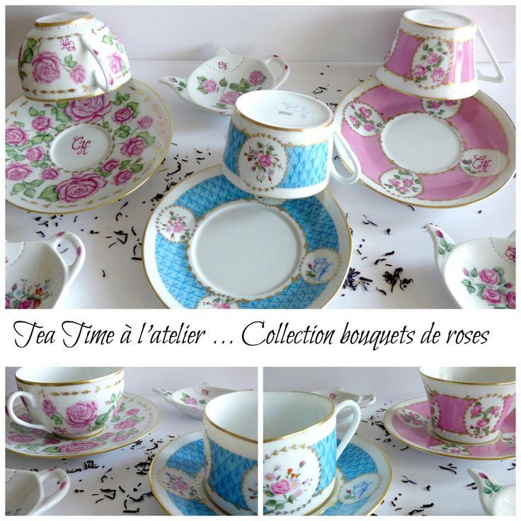 Tasses à thé en porcelaine personnalisées, dorées à l'or fin .  Un cadeau de mariage esprit shabby chic à l'Atelier porcelaine