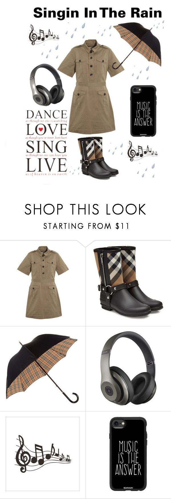 """""""singin in the rain"""" by im-karla-with-a-k ❤ liked on Polyvore featuring Burberry, Beats by Dr. Dre and Casetify"""