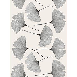 Marimekko Ginkgo Grey/Black Cotton Sateen Fabric