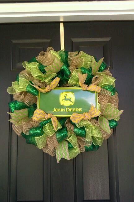 John Deere Burlap, deco mesh wreath on Etsy, $35.00
