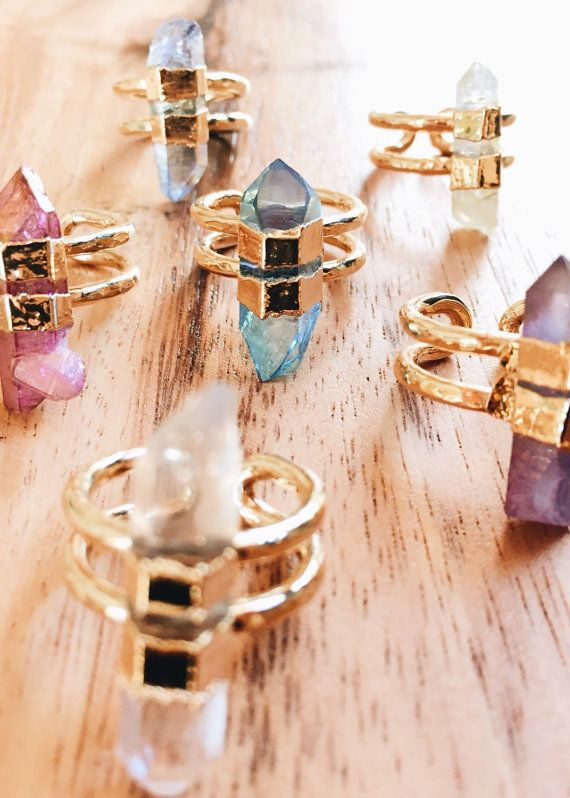 Hokupaa - (HO koo PA a) - immovable star. A gorgeous quartz point cuff ring. A one of a kind quartz point dipped in gold makes a lovely and