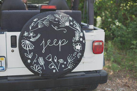 """Cubierta del neumático de repuesto Jeep Floral personalizado 32 """""""