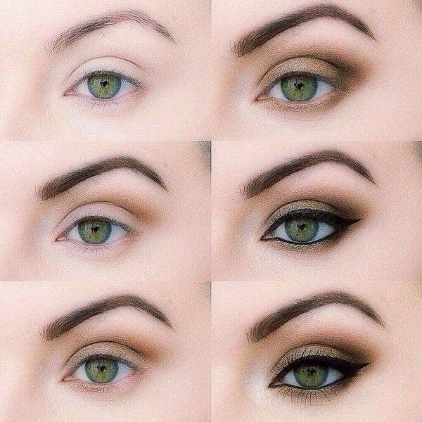 Daytime makeup for green eyes.