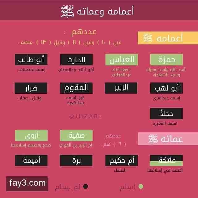 انفوجرافيك أعمام وعمات الرسول محمد صلى الله عليه وسلم انفوجرافيك Quotes Arabic Quotes