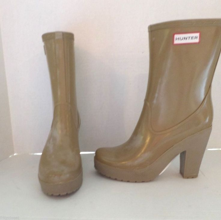195 Womens Hunter Arine Beige High Heel Fashion Rain Boot Size 8 39 Rain Boots Women 39 S And