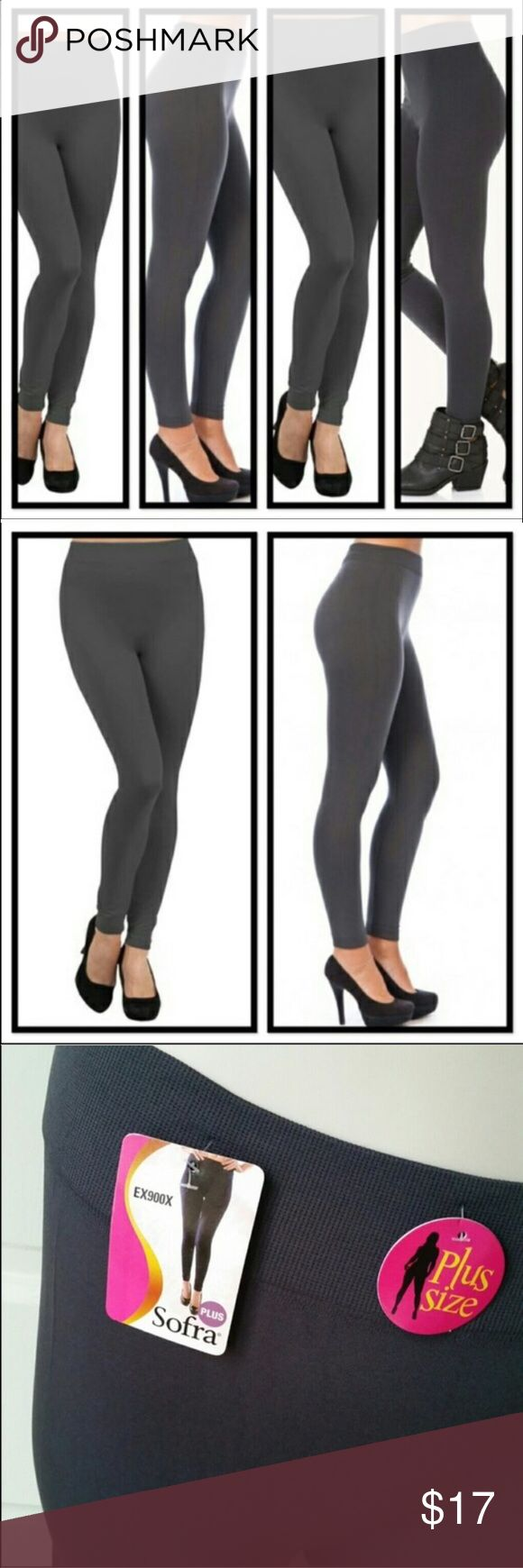 Brand New Plus Size Charcoal Gray Leggings Brand new with tags plus size leggings by Sofra. One size fits most from size L-3x, but in my opinion, these will fit best up to a size 2x. Thick and nice and very stretchy -- not see-through like a lot of leggings. Perfect this winter with all your dresses and oversized tops, or great for just lounging around the home. Sofra Pants Leggings