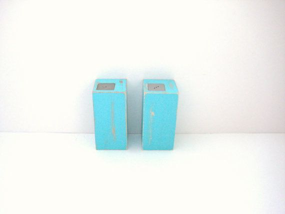 Salt and Pepper Shakers - Shabby Chic Turquoise - Kitchen Decor on Etsy, $27.00