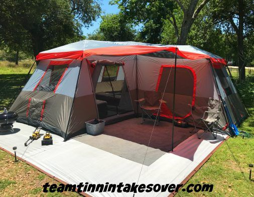 Ozark Trail 12 Person L-Shaped Instant Cabin Tent Review ~ Team Tinnin Takes Over