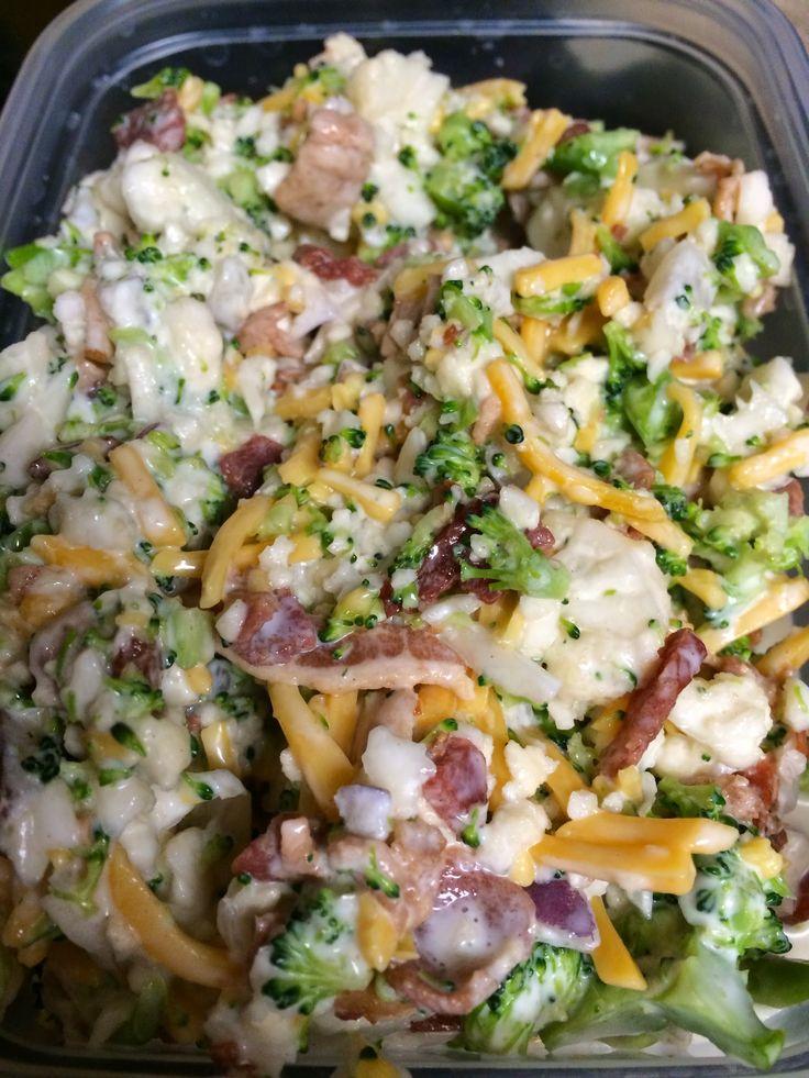 Amish Broccoli Salad 1 head broccoli ( chopped ) 1 head cauliflower ( chopped ) 1/4 cup red onion diced 1 cup mayonnaise...