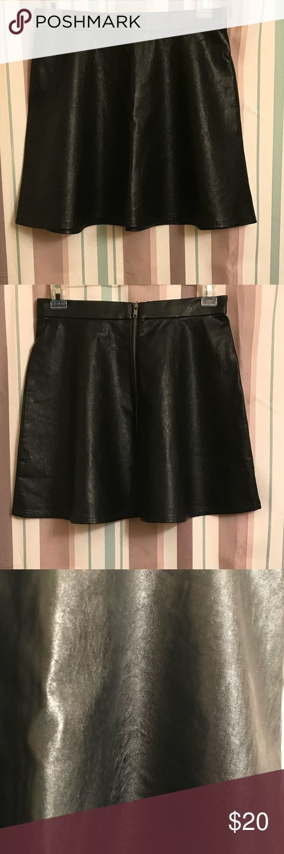 ✨ American Eagle Outfitters 💜 Vegan leather skater skirt. Cute for winter to dress up with cute thigh high boots, and a sweater. Please see pics for details American Eagle Outfitters Skirts Circle & Skater