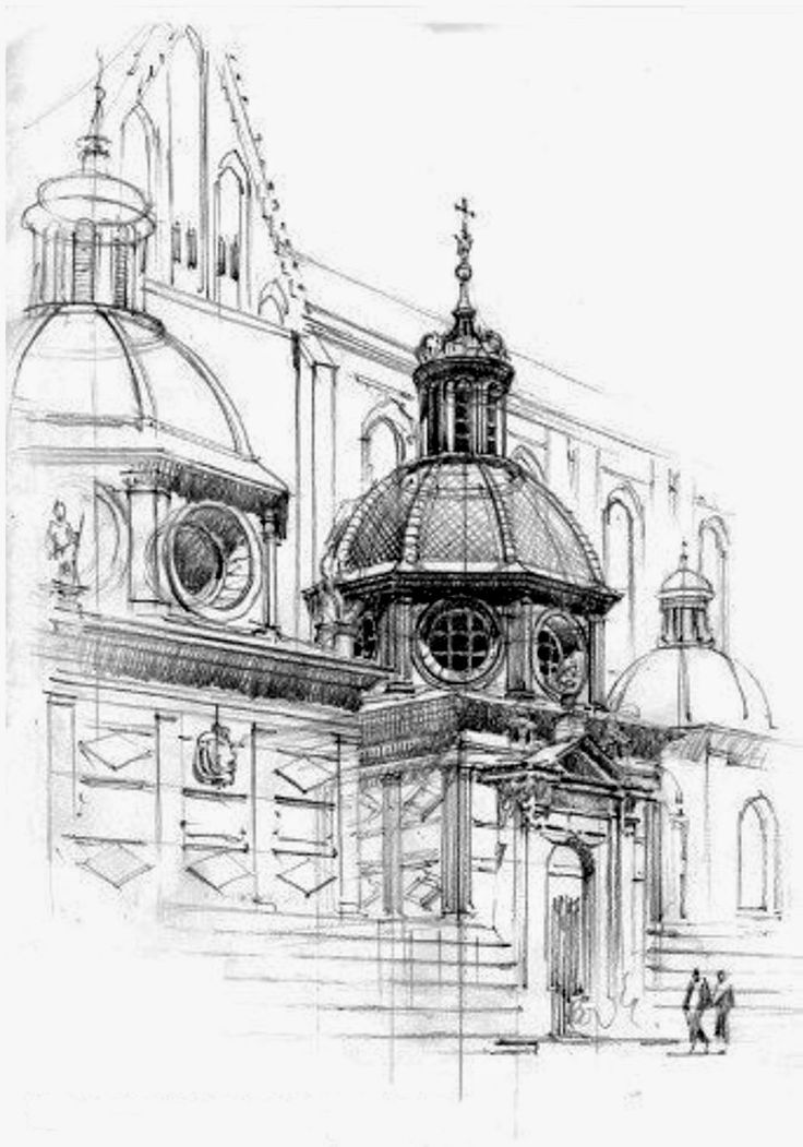 pen used and cross hatching in one main area to reflect the form of a building without having to do the same thing in all other areas of the design