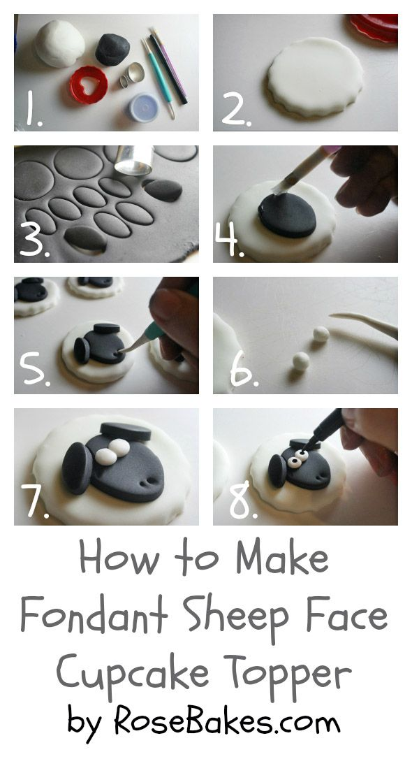 How to Make Fondant Sheep Face Cupcake Toppers {Farm Animal Cupcake Toppers Series, Part 3} by Rose Bakes