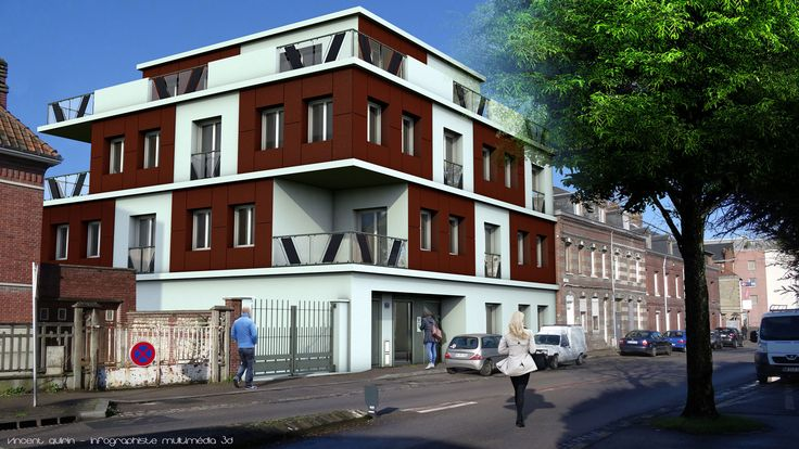 Modélisation d'un projet immobilier sous Cinema4d par Vincent Quirin, infographiste multimédia 3D à Sotteville lès Rouen
