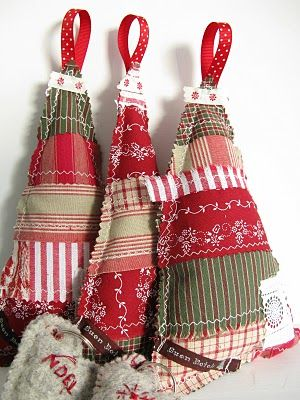 Patchwork Christmas trees, I like the small hearts attached saying Noel, could also say to/from and attach to gifts.