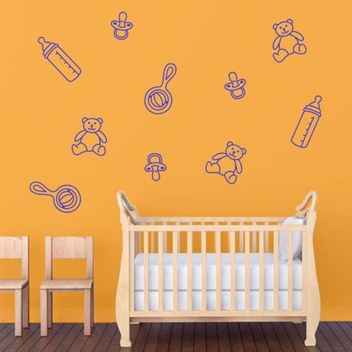 Vinilo Decorativo Infantil Formado Por Un Pack De Objetos