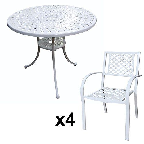 Lazy Susan Furniture   Mia 90 Cm Round Table With 2 Chairs   Cast Aluminium  Garden Set, White (Kate Chairs, Stone Cushions)