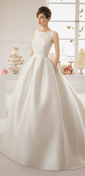 I like the skirt (not so much the bodice...)Classic Wedding Dress | Aire Barcelona 2015 Bridal Collection