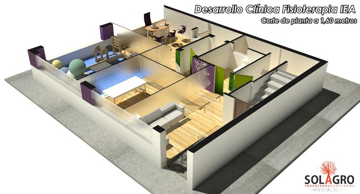 Diseño 3d infografia de clinica de Fisioterapia
